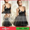2012 Hot Sale Spaghetti Strap Chest Beads Shining Black Tulle Ladies Fashion Dresses