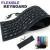 109 keys Waterproof Foldable Flexible mini USB Silicon Keyboard Black