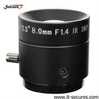 fixed ir 8mm cctv lens