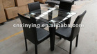 2012 modern space-saving glass metal dining set
