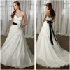 Charismatic A-line Sweetheart White Satin Chapel Train Bridal Dress with Sash