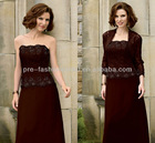 New Strapless Beaded Lace Bodice Beaded Lace Jacket Included Lace and Chiffon Mother of Bride Dress