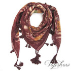 polyester square scarves with tassels