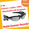 Free Shipping 2GB 5-IN-1 Camera+Video+MP3+Bluetooth+FM Sunglasses DV88A MOQ=1