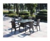 Aluminum rattan chair and table