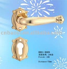 Tube lever brass door handle with rosette