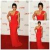 One Shoulder Chiffon Red Celebrity Evening Dress of Kim Kardashian