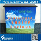 Square promotion counter with fabric graphic