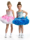 Gorgeous Beaded and Embroidered Bodice Short Ruffled Skirt Pageant Dress for Kids