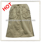 ladies high fashion CB vent A line washed khaki skirt