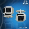 New Black Carbon Fiber Inlay Stainless Steel Cuff Links SCL-008