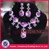 WNE003 In stock hot pink bead wedding necklace and earring sets