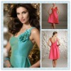 BD08 Turquoise Satin Scoop Neckline Knee-length Bridesmaid dress