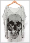 bat-wing sleeves loose and skeleton printing T-shirt