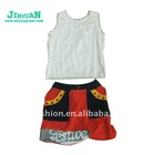 White top clothes andn patchwork dress clothing set