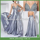 New arrival halter neck beaded floor length evening dress