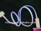 White Visible LED Light USB Charging Sync Cable with Blue Light for iPhone 4 4S/for iPad 1 2 3 /for iPod Touch
