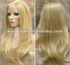 Top quality 100% human hair blonde silk top full lace wigs