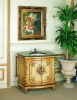 Yellow color carving wooden bathroom cabinet, marble top