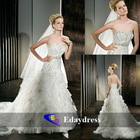 Sweetheart Strapless Lace-up Back, Multi-tiered Pleated Organza Ruffles Bridal Dresses Wedding Dress