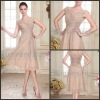 2012 Hot Sale A-line V Neck Tea Length Chiffon Cocktail Dresses Woman Formal Dresses
