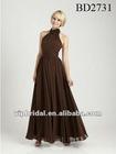 chiffon unique halter neckline floor length dark brown bridesmaid dresses