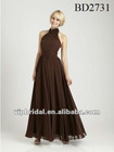 chiffon unique halter neckline floor length dark brown bridesmaid dresses
