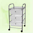 3 layers plastic drawer trolley with wheels