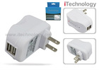 Dual USB AC Adapter / Wall charger for Tablets Smartphones MP3 Players and Gaming Devices