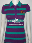 Women engineering stripes polo shirts
