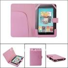 Pink leather case for nook color(side-open),MOQ:300pcs wholesale
