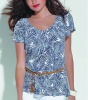 casual fashion lady top with clear printings