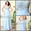 Light Blue Beading Long Chiffon Formal Woman Evening Dresses