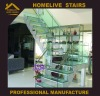 elegant home stainless steel metal+ laminated glass footplate/ tread stair/ stairs