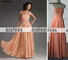 AZRB003 Orange Applique Bridesmaid Dress