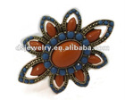 crystal stone flower pattern ring of costume jewelry
