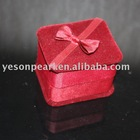 red suede decorative jewelry box for ring and earring