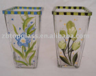 square glass vase with colorful handdrawing
