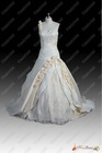 Real Sample Best Selling New Style One Shoulder Flowers Long Train Ball Gown Embroidery Bridal Wedding Dress 2013