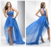 2013 Popular Sexy Sweet Formal Halter Blue Short Front Long Back Dress