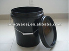 20L black color plastic bucket with handle MY-T003