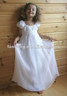 Classic scoop neck chiffon sheath short sleeve flower girl dress