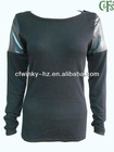 ladies real leather trimed sweater