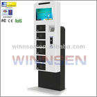 Mobile charging station lockers, mobile phone charger with locker