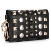 Black metal studs brand clutch, evening party hand bag
