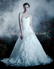 Elegant Sweetheart Neckline Flowers Organza Bridal Wedding Dress with Roses Skirt