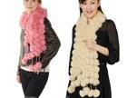 100% fur fashionable pink color rabbit fur ball scarf