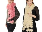 100% fur fashionable pink color rabbit fur ball scarf