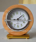 analog silent solid wood hotel room alarm desk clock