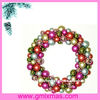 christmas wreath with gold plastic balls